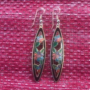 Long floral dangle earrings vintage?